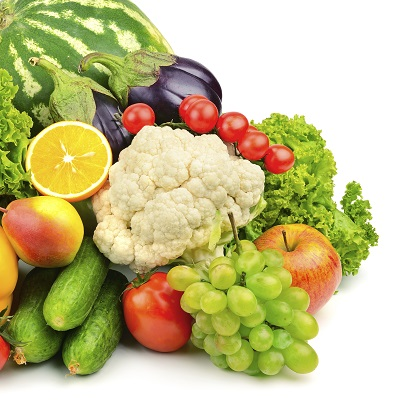 A collection of fruits and vegetables.